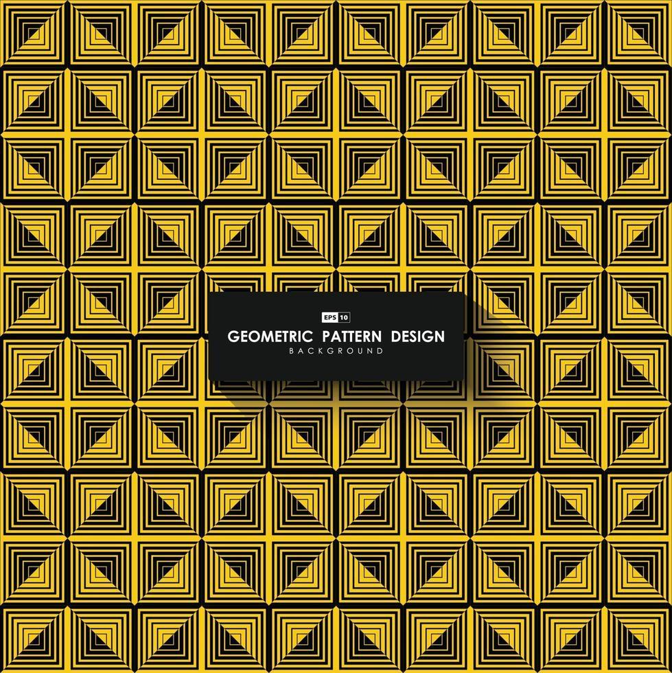 abstrakter gelber und schwarzer Entwurfsquadratabmessungskunstwerkhintergrund. Illustrationsvektor eps10 vektor
