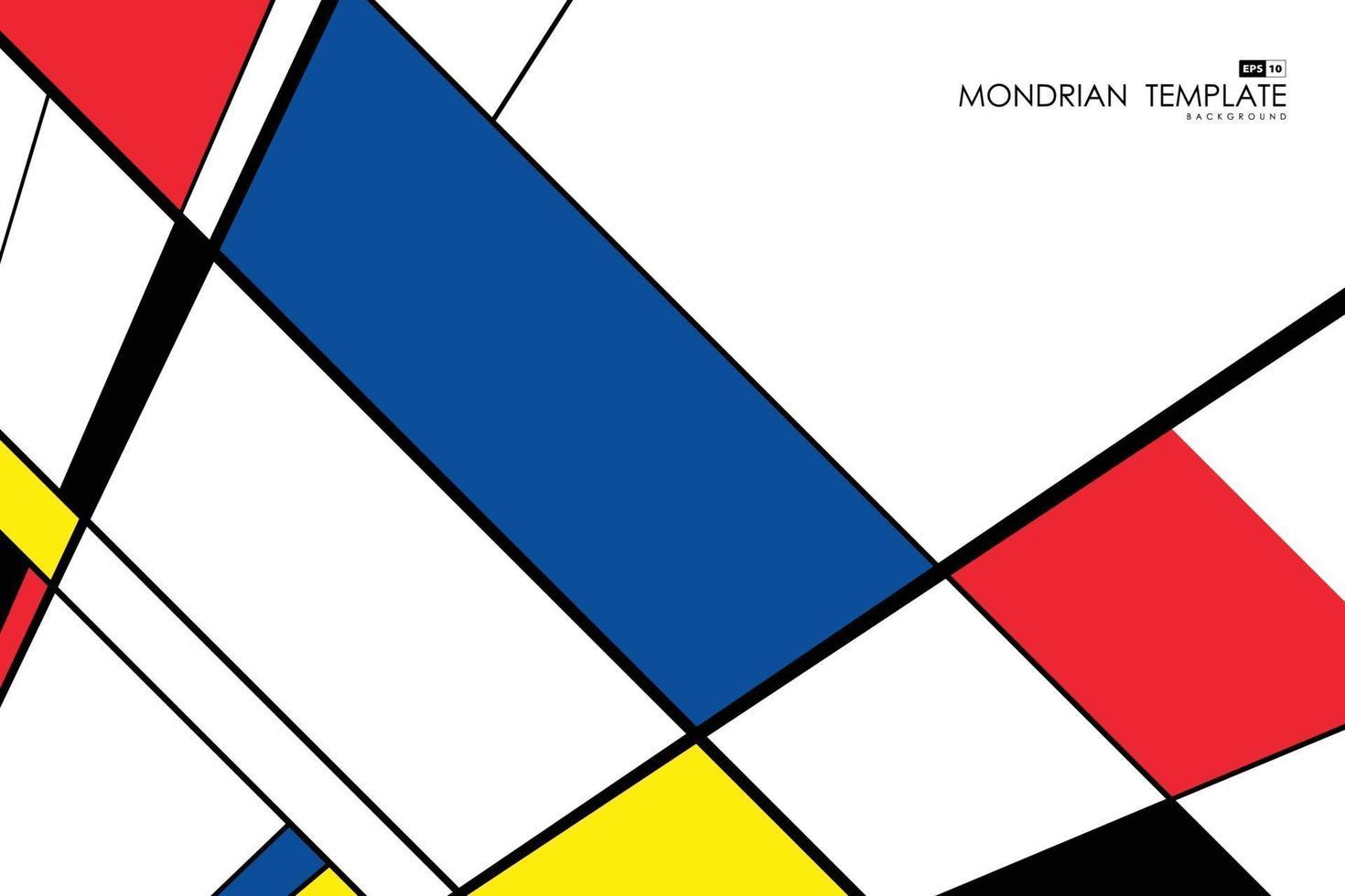 abstrakter mondrian Schablonenentwurfskunst Retroperspektivhintergrund. Vektor eps10
