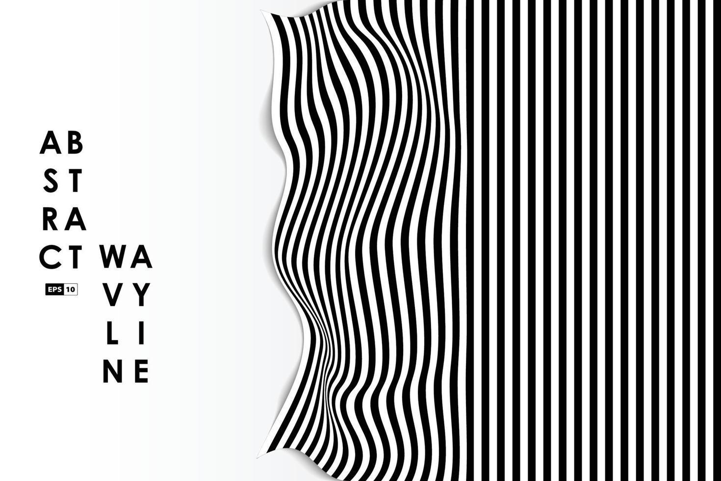 abstrakter Schwarzweiss-Wellenverzerrungs-Entwurfsabdeckungshintergrund. Verwendung für Anzeige, Poster, Grafik, Vorlage, Design, Druck. Illustrationsvektor eps10 vektor