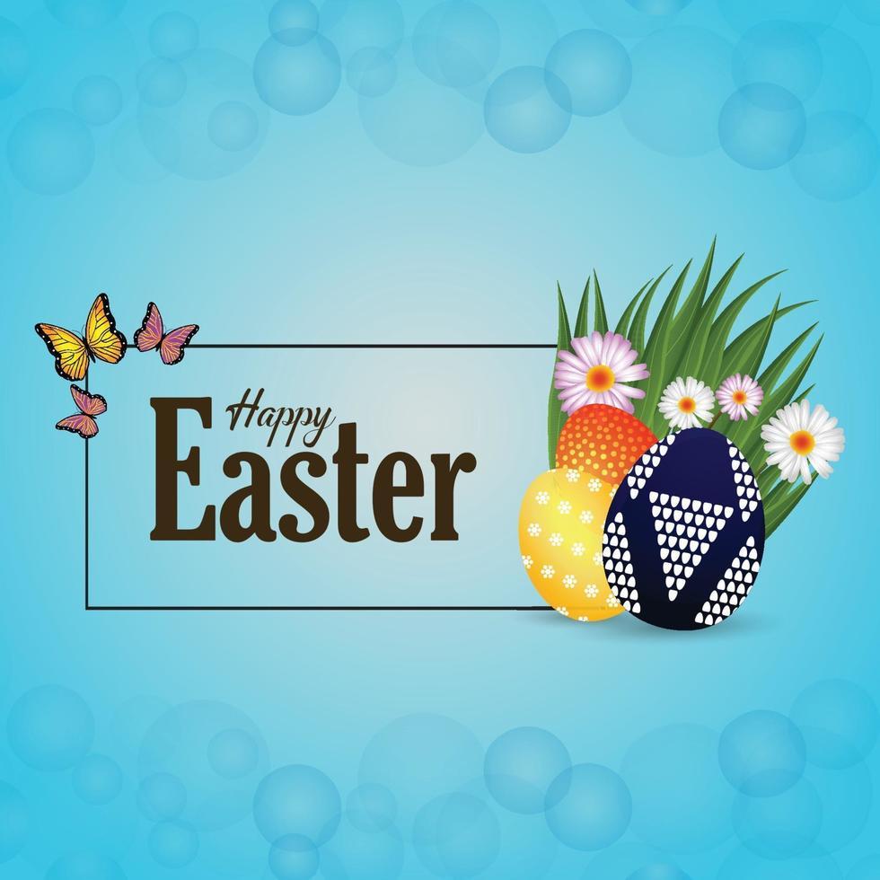 glad påskdag firande bakgrund med påskharen och ägg vektor