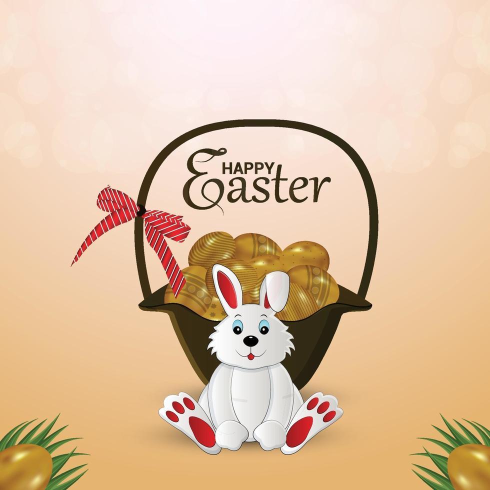 glad påskdag söt kanin med färgglada ägg vektor