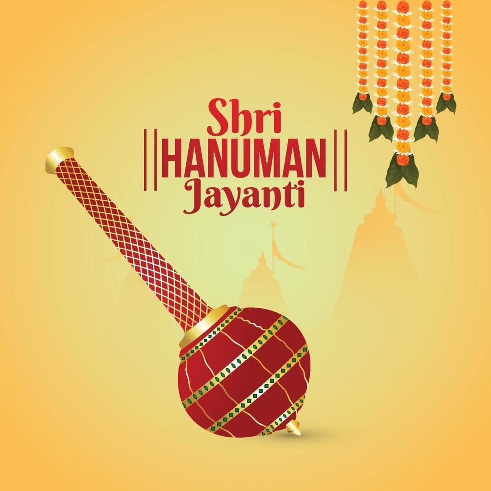 kreativ illustration av hanuman jayanti, firar bakgrund med Lord Hanuman vapen vektor