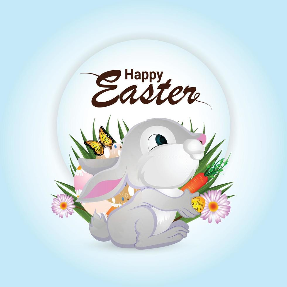 lyckligt påskhälsningskort med söt påskhare och ägg vektor