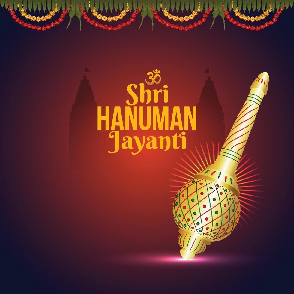 kreative Illustration von Hanuman Jayanti, feiert Hintergrund mit Lord Hanuman Waffe vektor