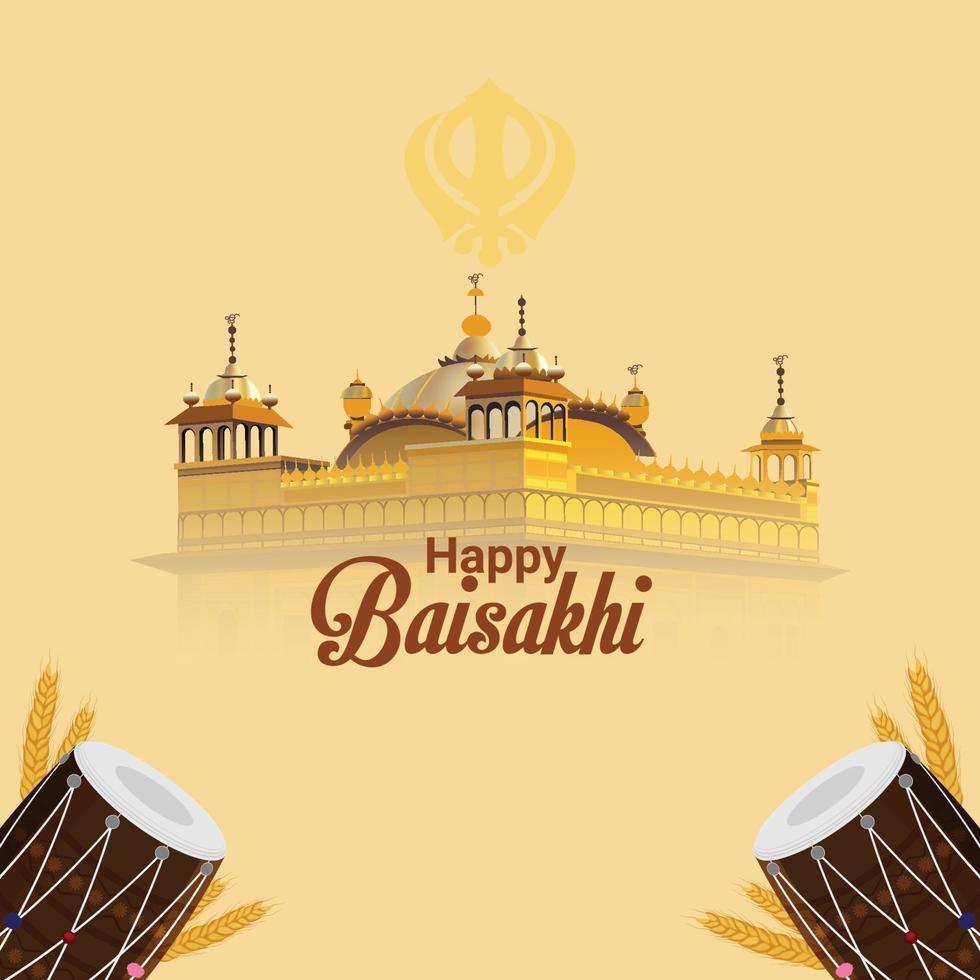 glücklicher Vaisakhi kreative Illustration goldener Tempel und Trommel vektor