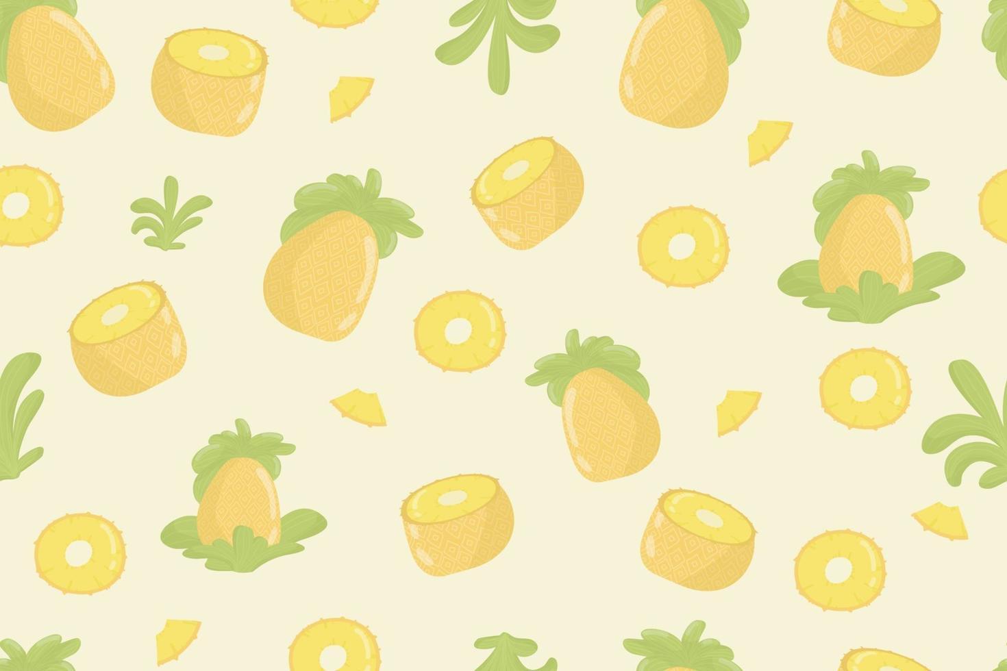 frisches nahtloses Muster der Ananasfrucht. Ananas und Blätter auf gelbem nahtlosem Muster. modernes tropisches exotisches Fruchtdesign für Geschenkpapier, Textil, Banner, Web, App. leuchtend saftige gelbe Ananasfrüchte und weiche grüne Blätter vektor