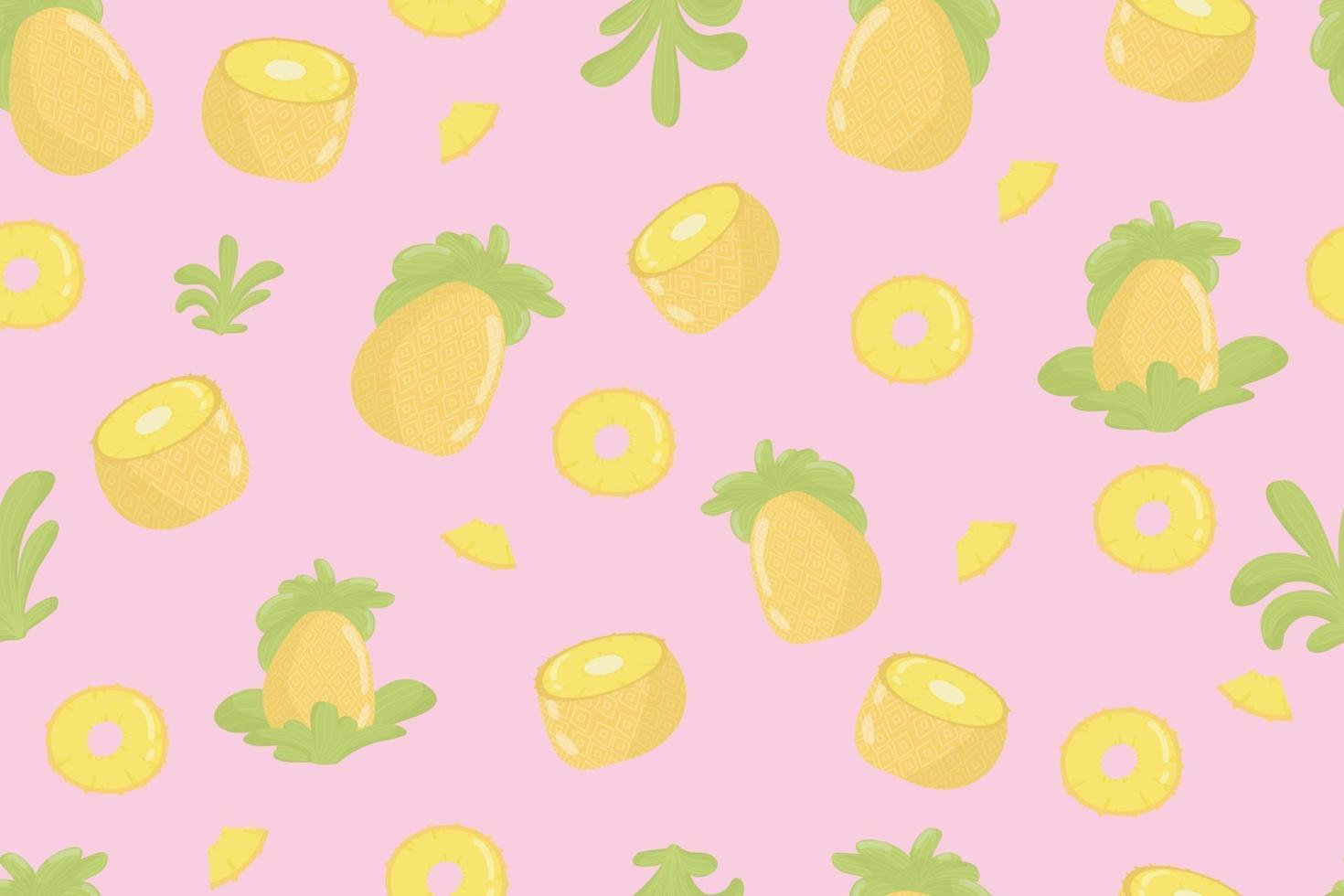 ananas frukt färska sömlösa mönster. ananas och blad på gula sömlösa mönster. modern tropisk exotisk fruktdesign för omslagspapper, textil, banner, webb, app. ljusa saftiga gula ananasfrukter och mjuka gröna blad vektor