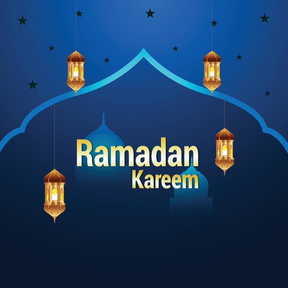 ramadan kareem platt islmisk festival med kreativa lyktor vektor