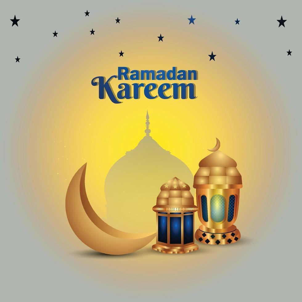 ramadan islamisk festival med gyllene lampa och måne vektor