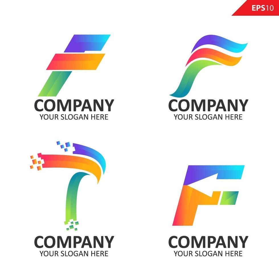 samling färgglada initial f brevlogotyp formgivningsmall vektor