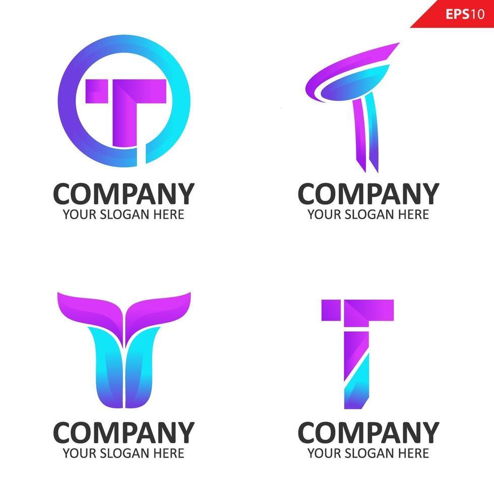 Sammlung bunte anfängliche t Brief Logo Design-Vorlage vektor