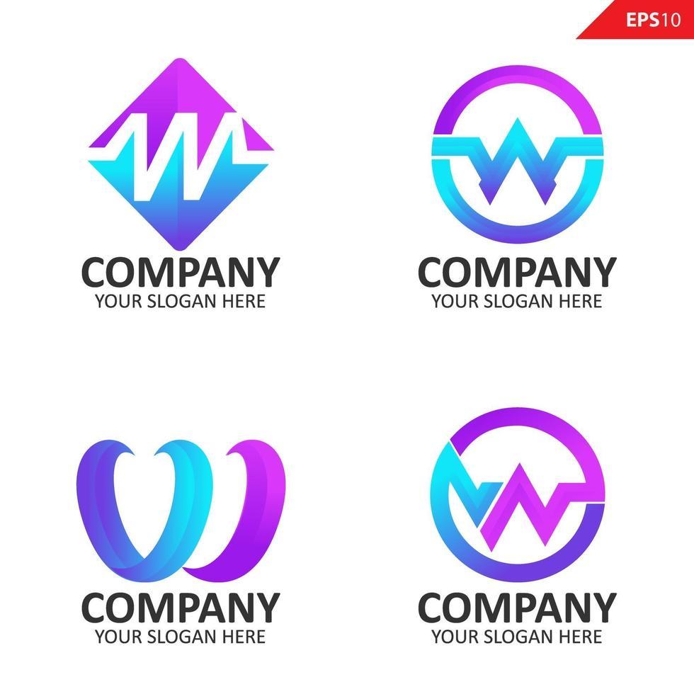 Sammlung bunte anfängliche w Brief Logo Design-Vorlage vektor