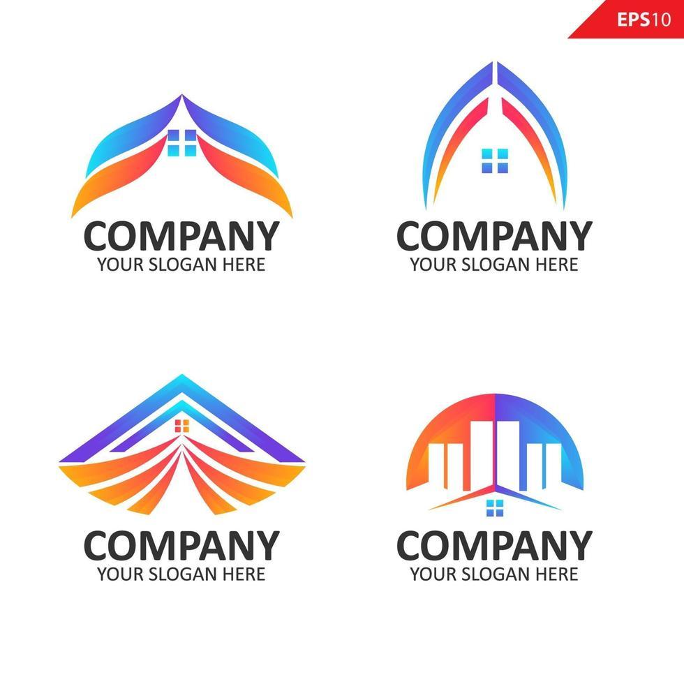 fastighetslogotyp samling färgglada logotyp formgivningsmall vektor