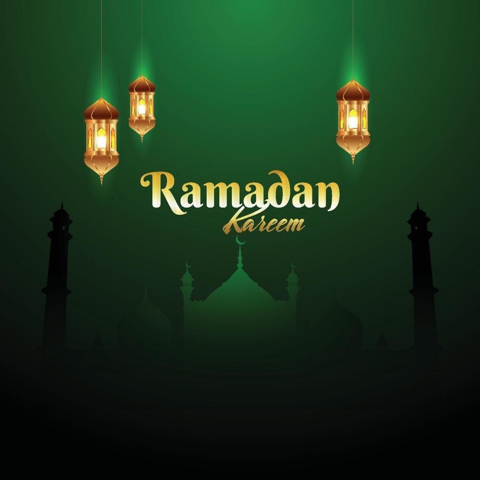 Ramadan Kareem Hintergrund mit islamischer Laterne vektor