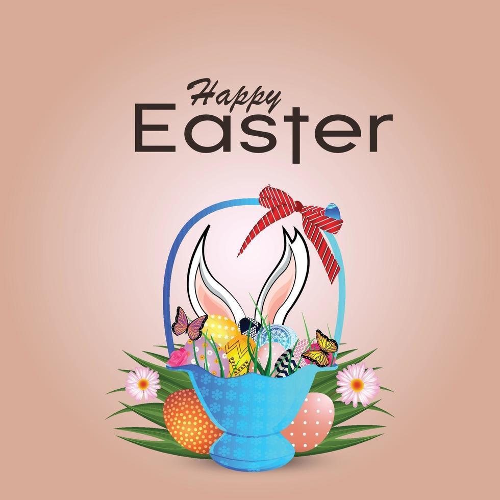 glad påsk bakgrund med påskharen och färgglada påskägg vektor