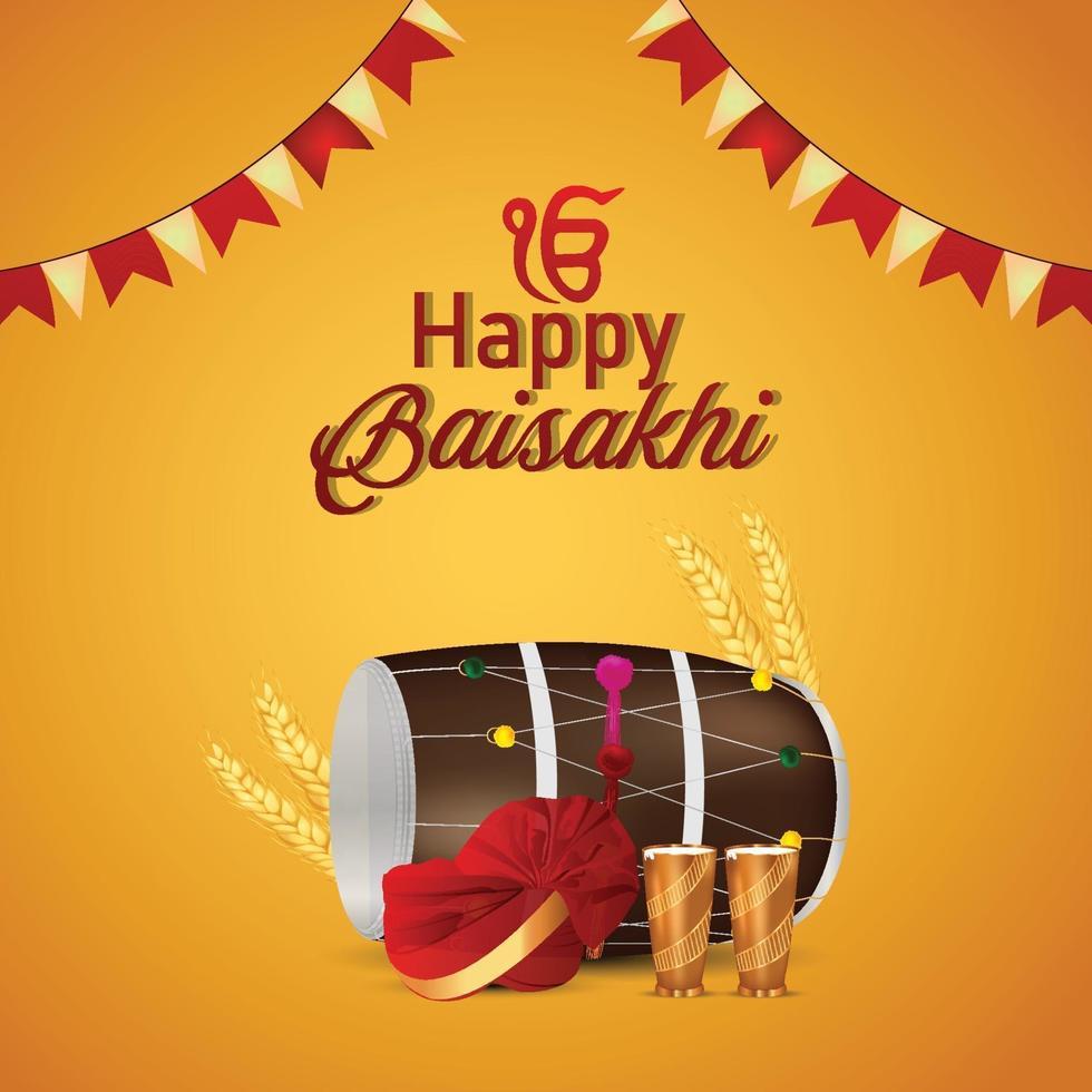 glückliche Vaisakhi realistische Grußkarte und Hintergrund vektor
