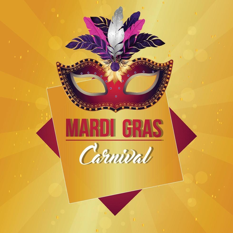 karneval part gratulationskort med kreativ mask med fjäder och bakgrund vektor