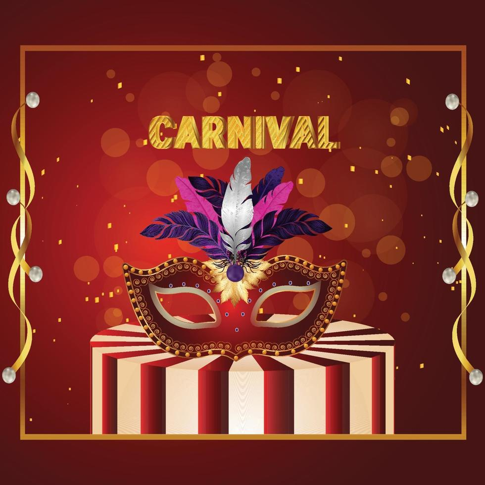karneval Brasilien händelse med kreativ mask vektor