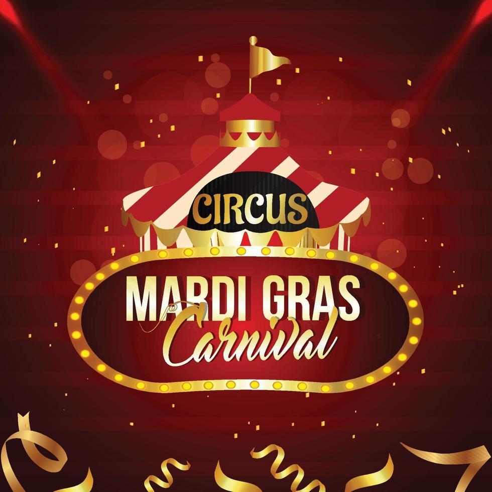 Karneval Brasilien Party Grußkarte oder Poster mit Zirkus Zelthaus vektor