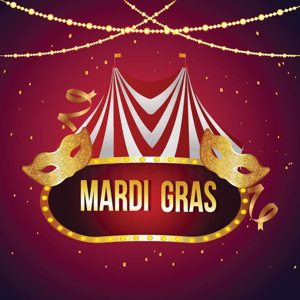 mardi gras bakgrund med cirkustält och gyllene mask vektor