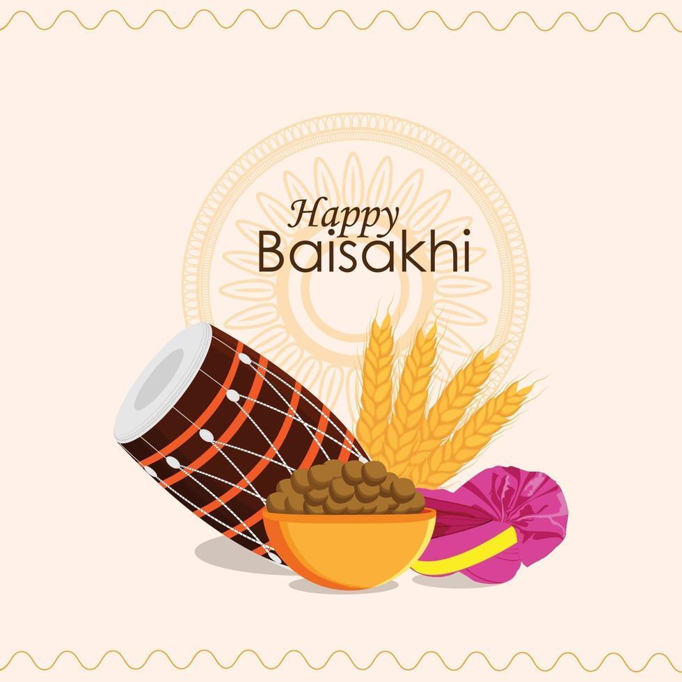 glad vaisakhi kreativ illustration och bakgrund vektor