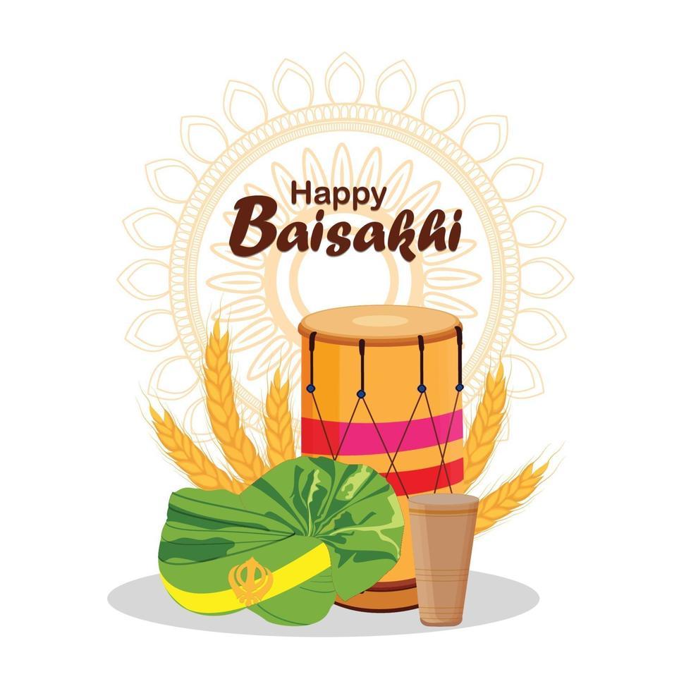 glückliche Vaisakhi kreative Illustration und Hintergrund vektor