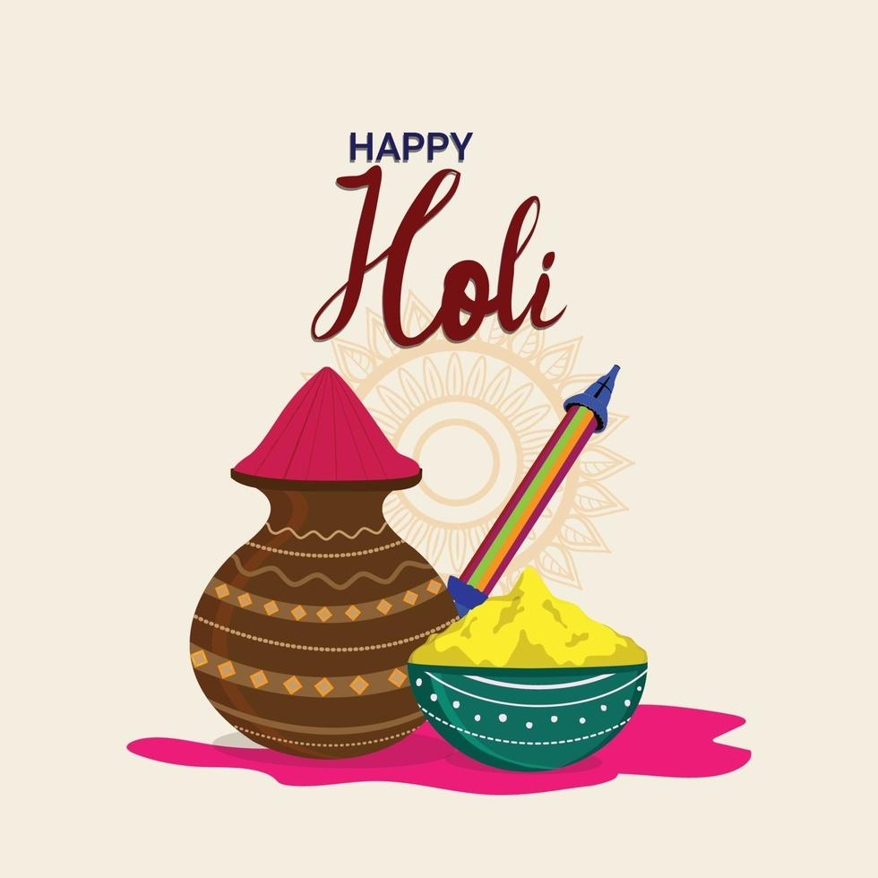 lyckligt holi gratulationskort, holi indisk festival bakgrund vektor