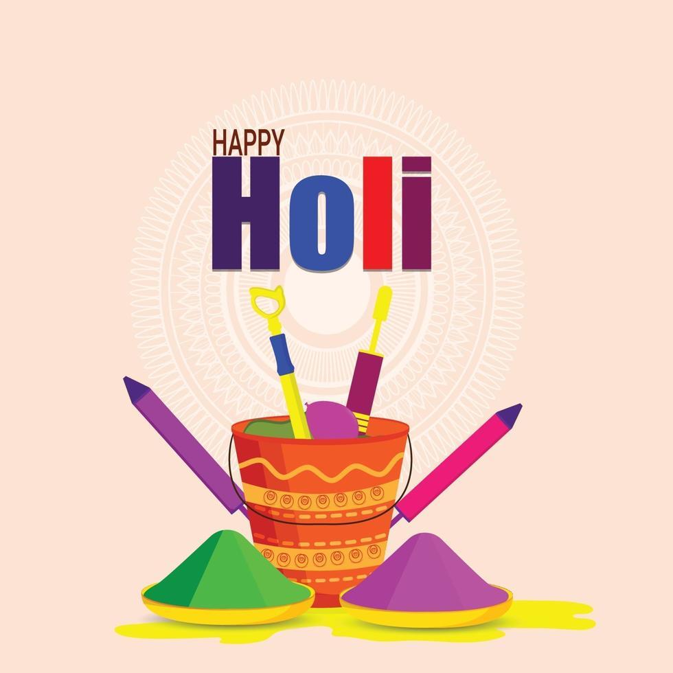 Happy Holi Hindu Festival mit Farbtafel und Trommel vektor
