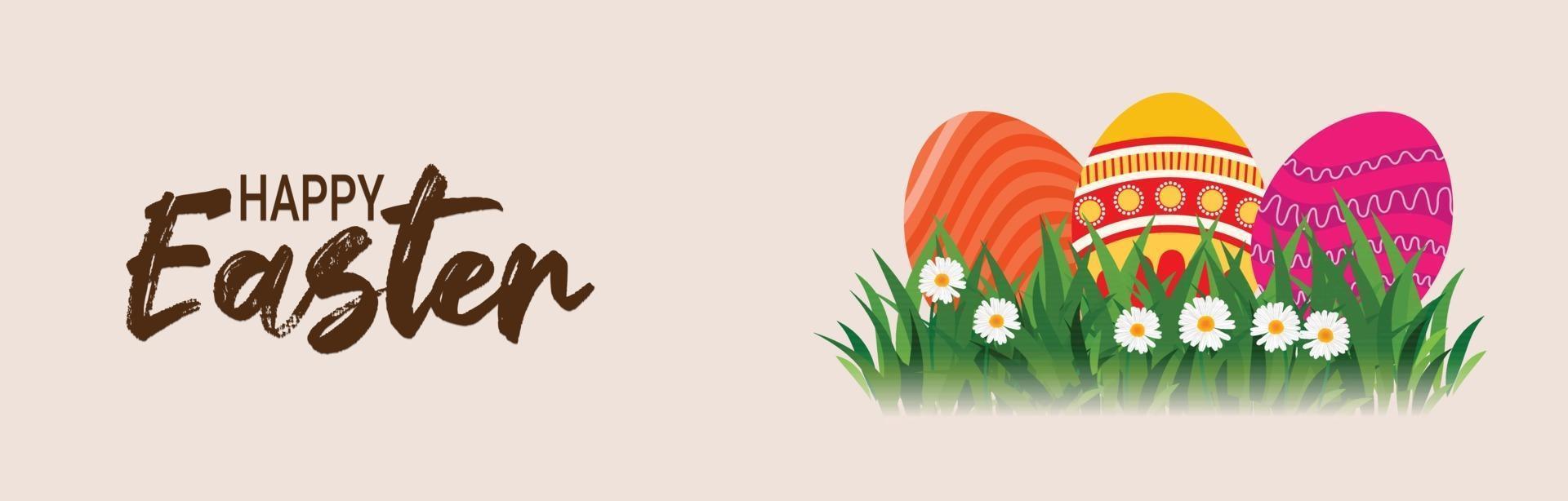 glad påskdag festival banner med påskägg och kanin vektor