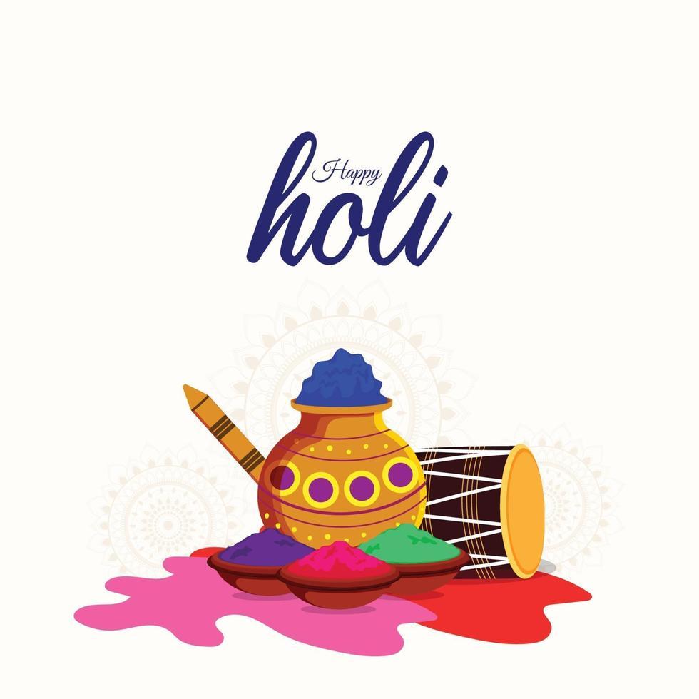 Happy Holi Flat Design-Konzept und mit bunten Gulal Farbe vektor