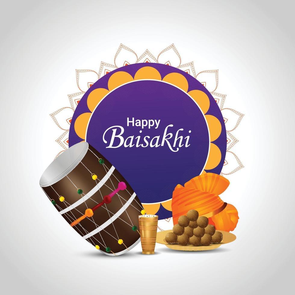 glad vaisakhi sikh festival platt designkoncept och bakgrund vektor