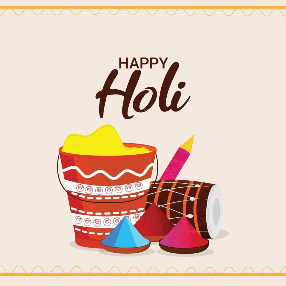 glad holi hinduisk indisk festival gratulationskort vektor