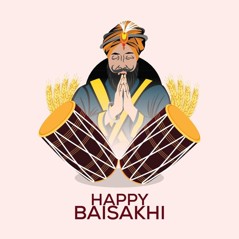 vaisakhi indisk sikh festival platt design koncept mall med illustration vektor