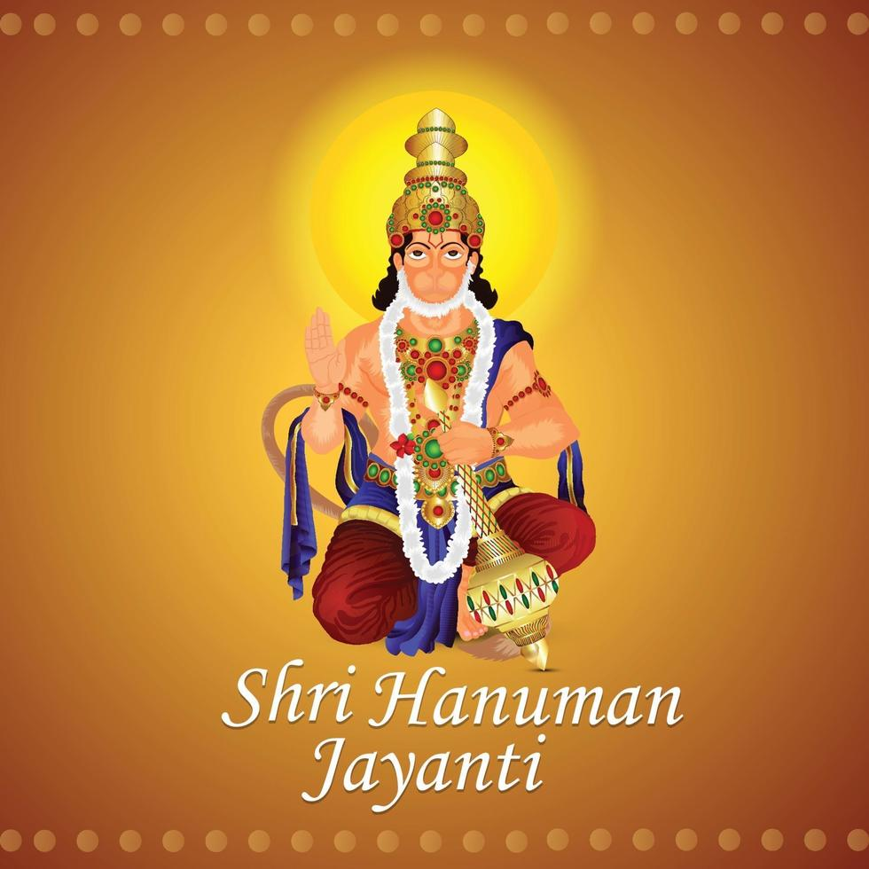 kreative Illustration der glücklichen Hanuman Jayanti Grußkarte vektor