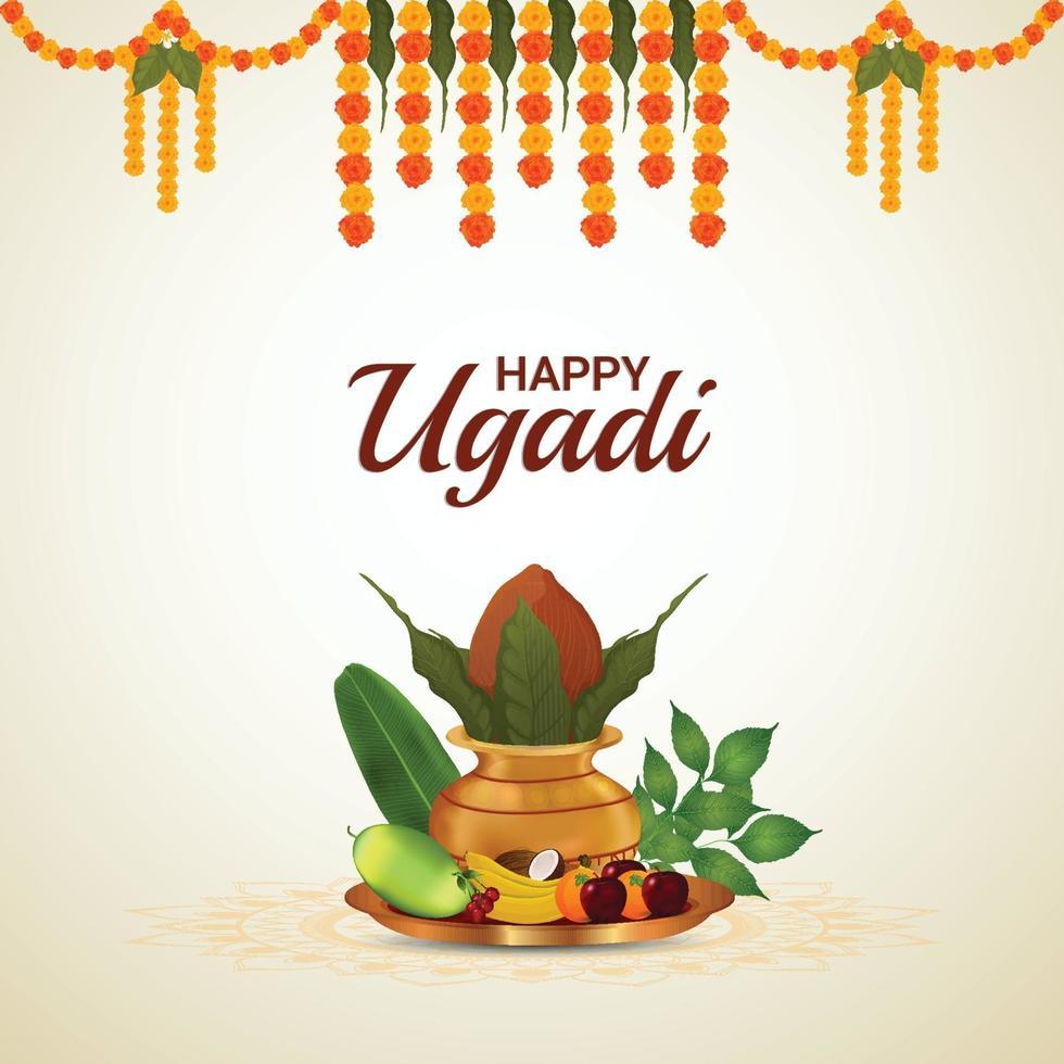 gratulationskort för ugadi eller gudi padwa vektor