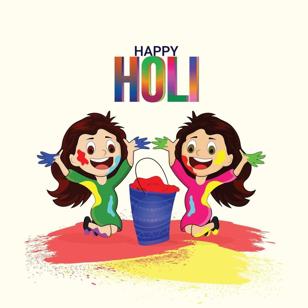 kreative Illustration der glücklichen Holi Festivalfeier vektor