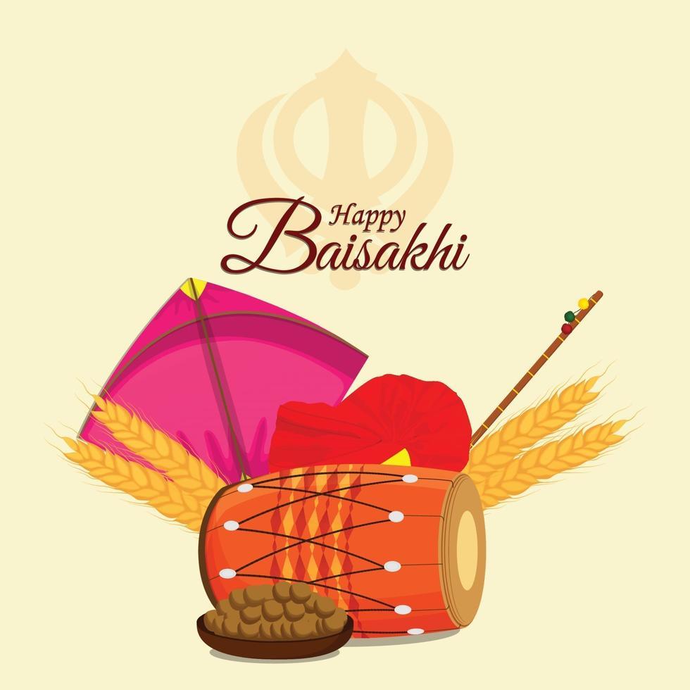 färgglada drakar och dhol för lycklig vaisakhi sikh festivalbakgrund vektor