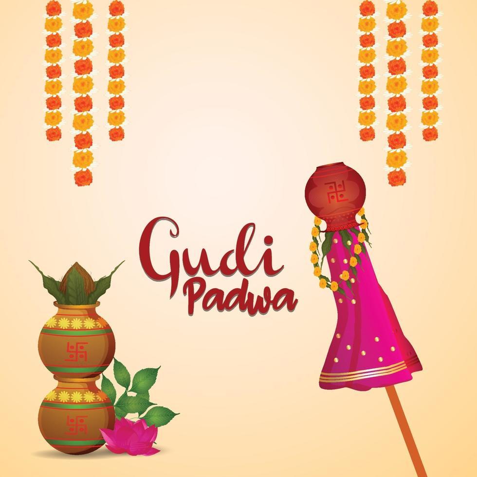 glücklicher Hintergrund der Gudi Padwa-Feier vektor