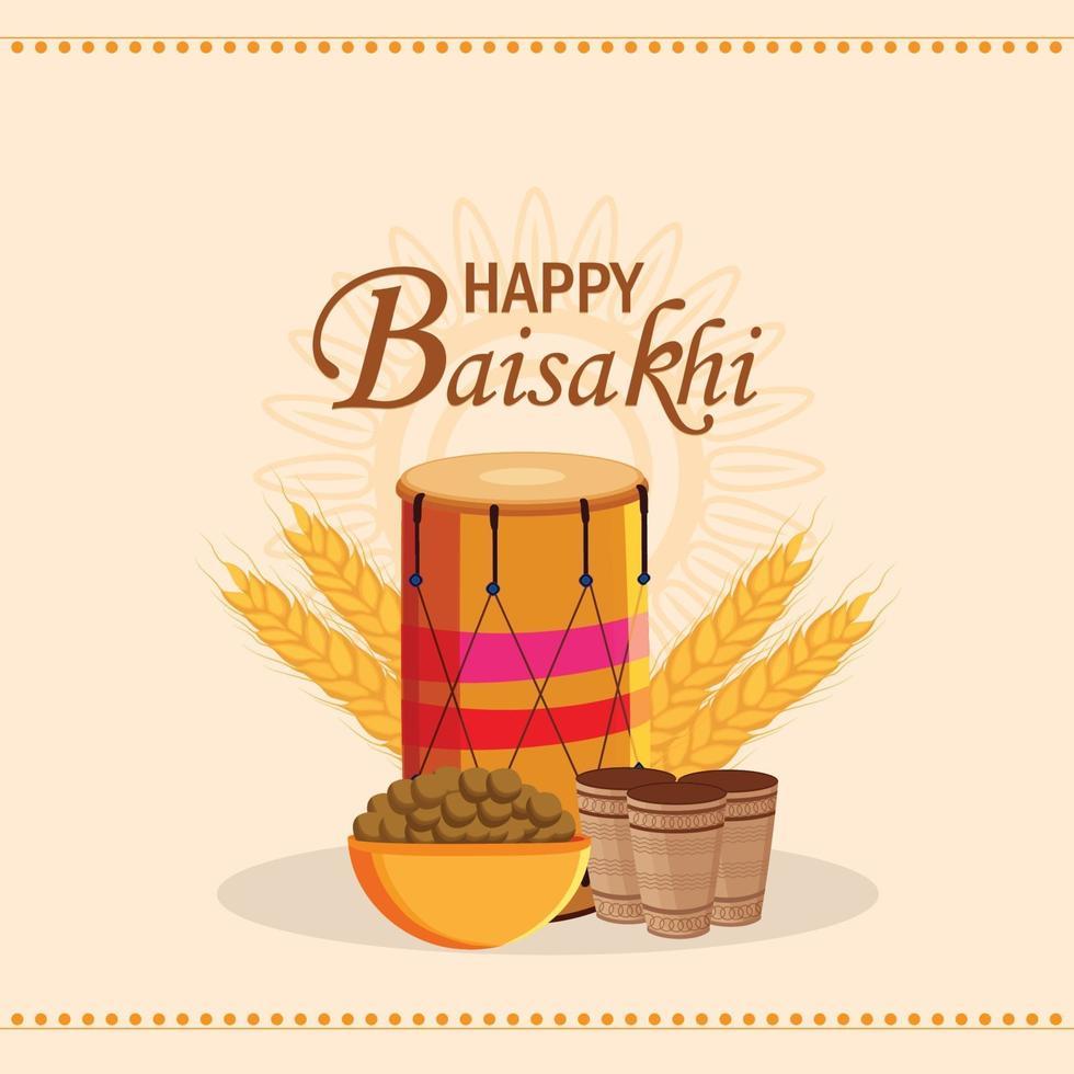 glückliches baisakhi Feier flaches Designkonzept und Hintergrund vektor