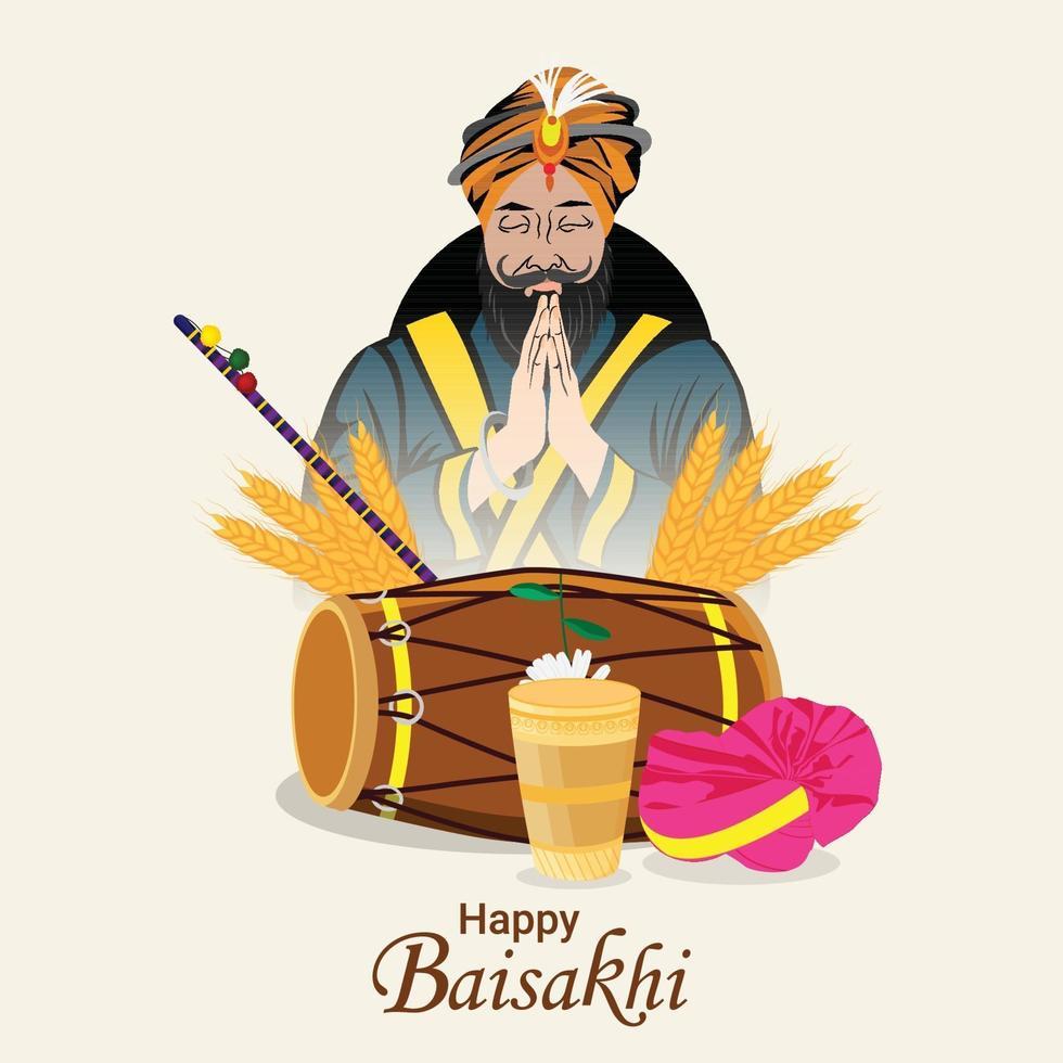 glad baisakhi firande platt designkoncept och bakgrund vektor