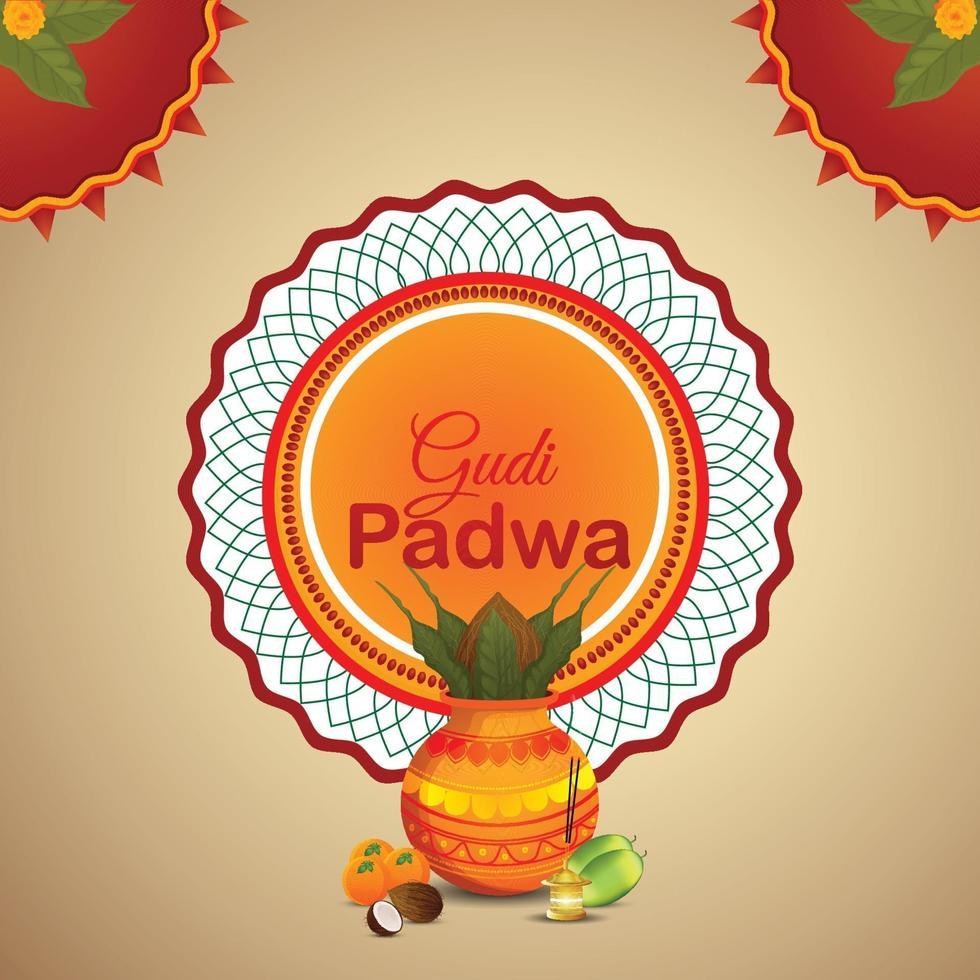realistische Gudi Padwa und abstrakter Hintergrund mit Kalash vektor