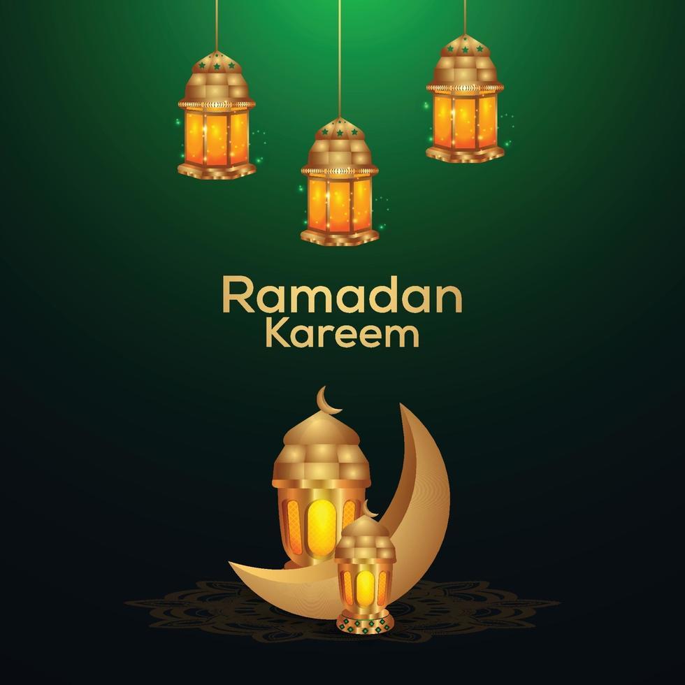 gyllene lykta och månen av ramadan kareem vektor