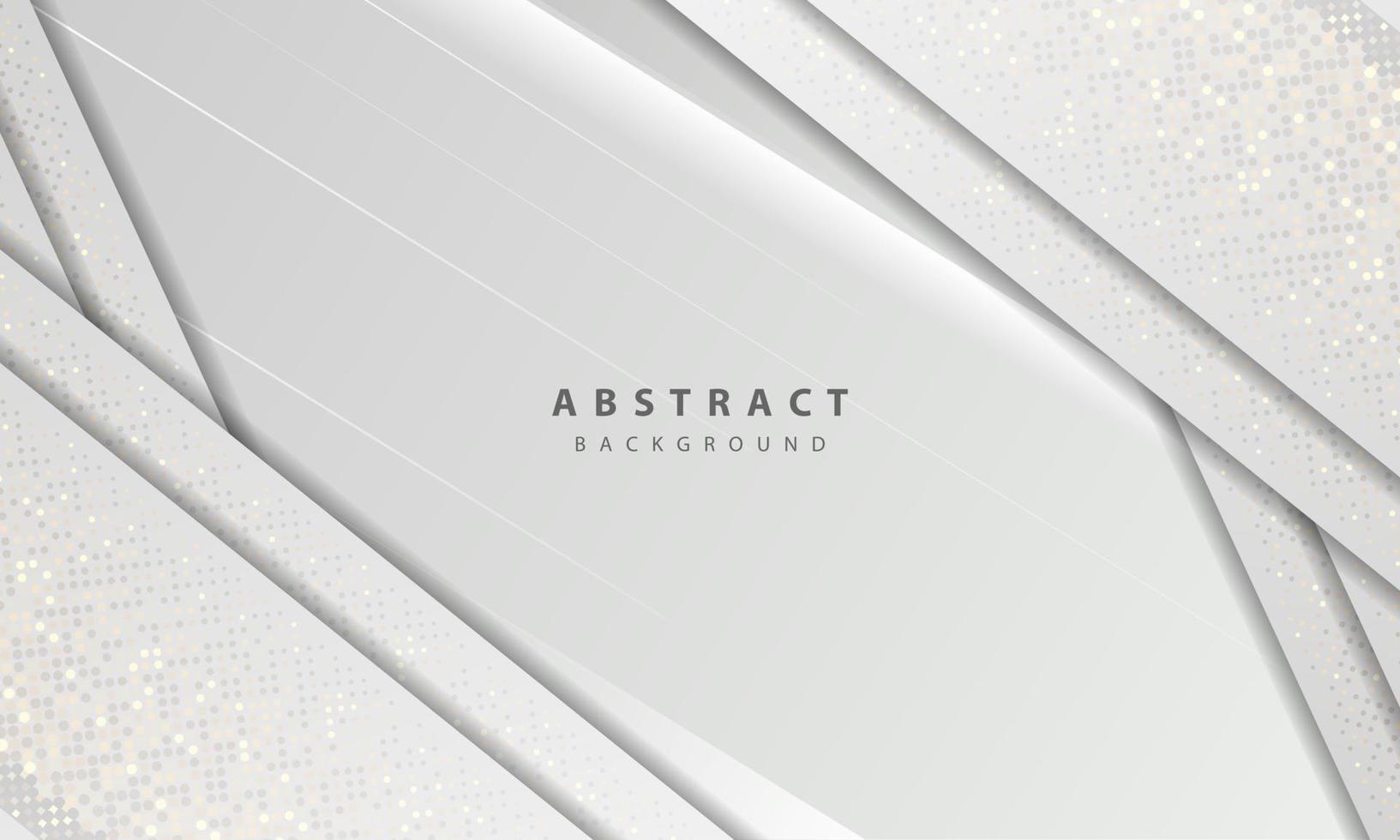 lyx och modern konceptstruktur med silver glitter prickar element dekoration. vit abstrakt bakgrund med pappersformer överlappar lager. vektor