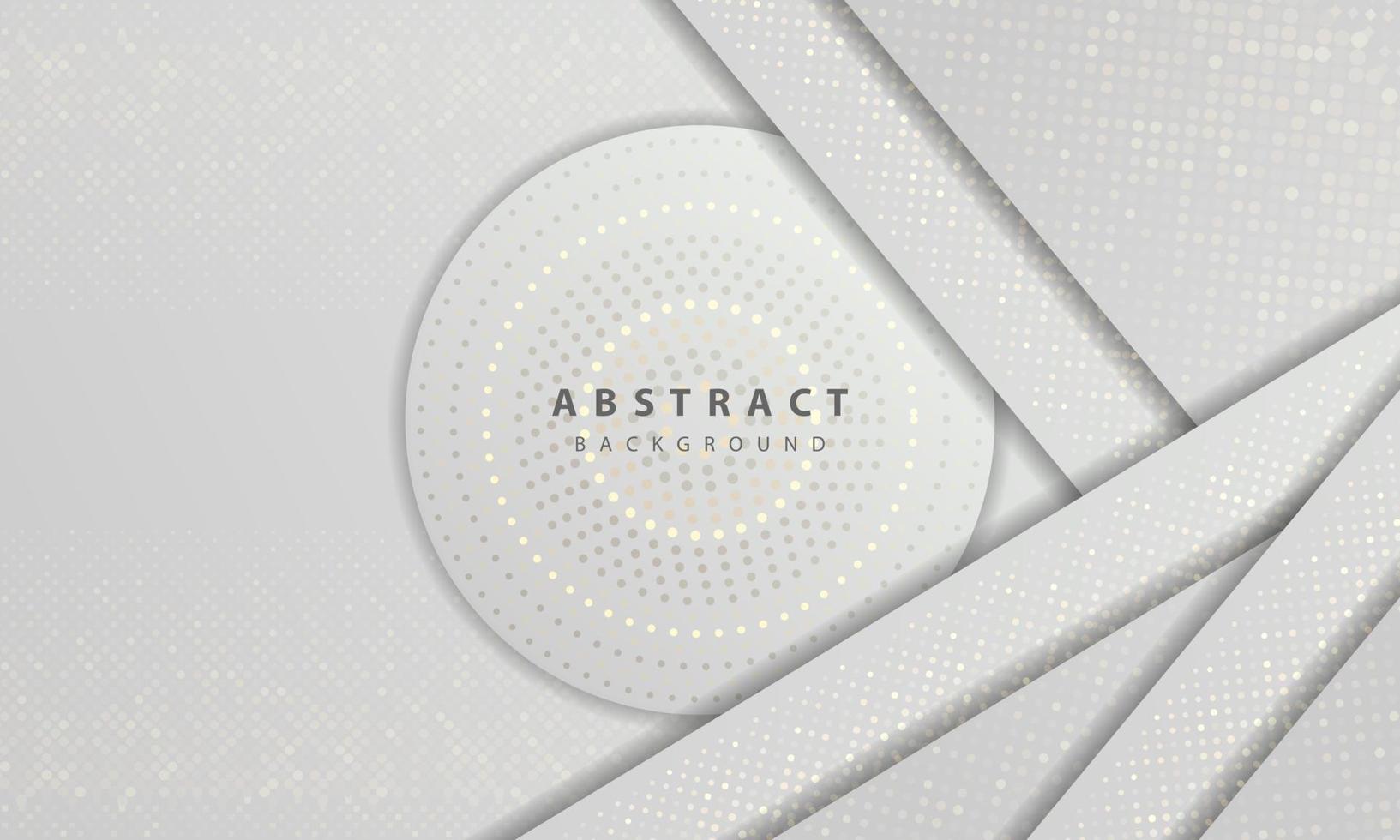 Luxus und moderne Konzept Textur mit Silber glitzert Punkte Element Dekoration. weißer abstrakter Hintergrund mit Papierformen überlappen Schichten. vektor
