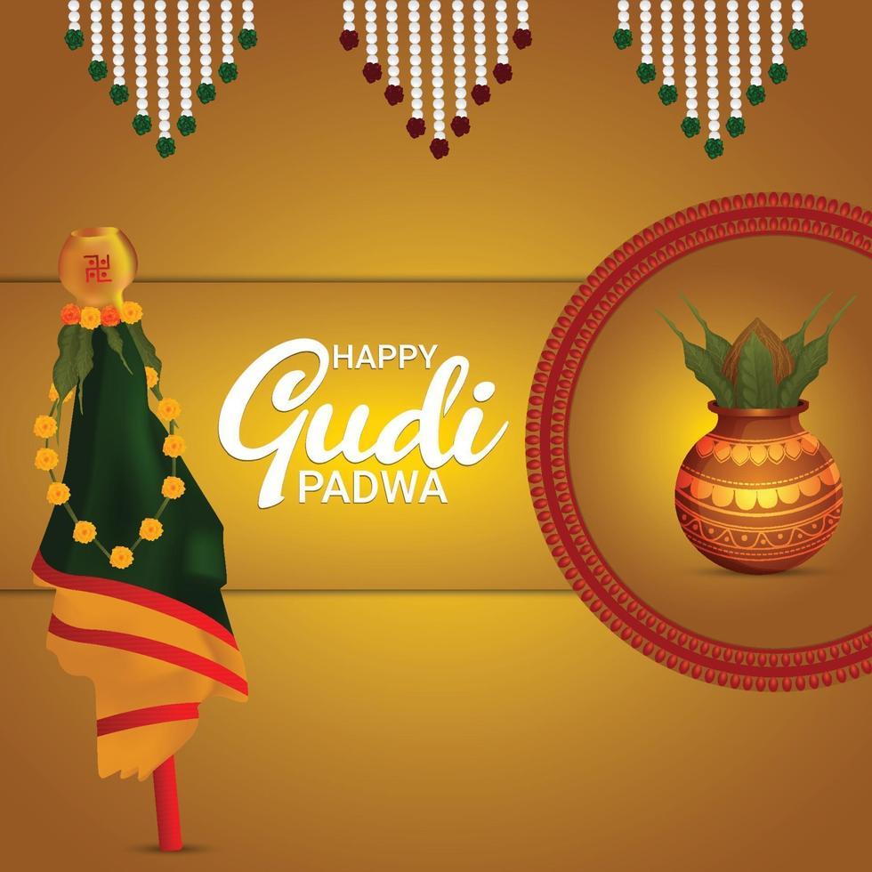 glad gudi padwa firande bakgrund med realistisk kalash vektor