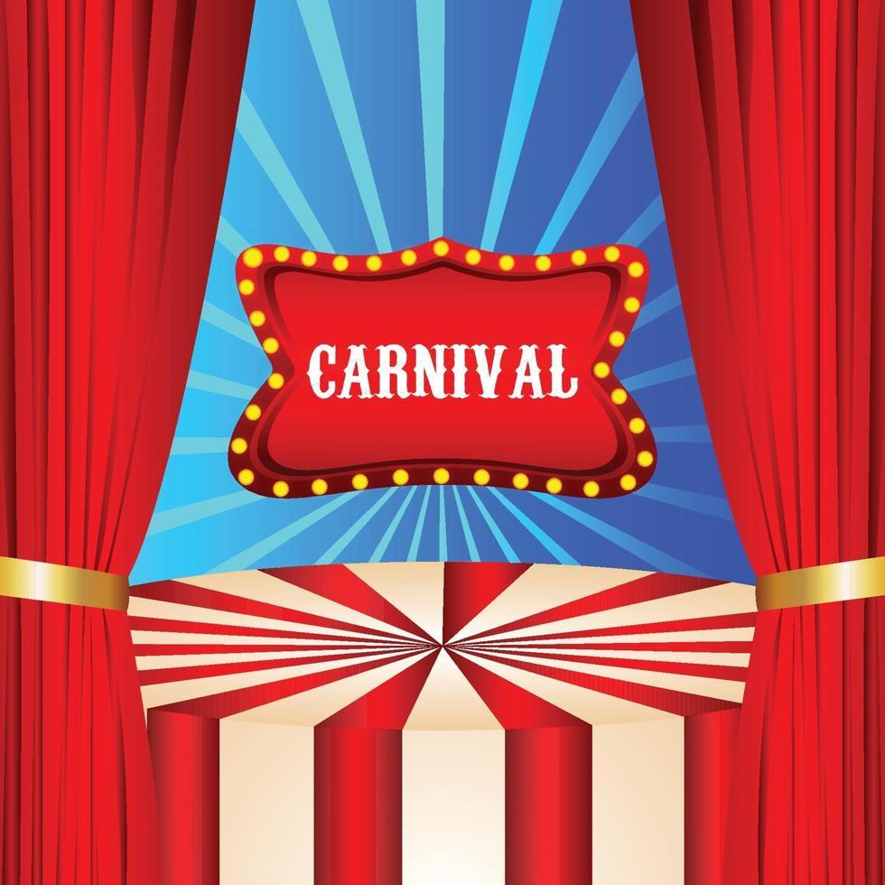 Karnevalspartyfeierhintergrund mit Zirkusvorhang vektor