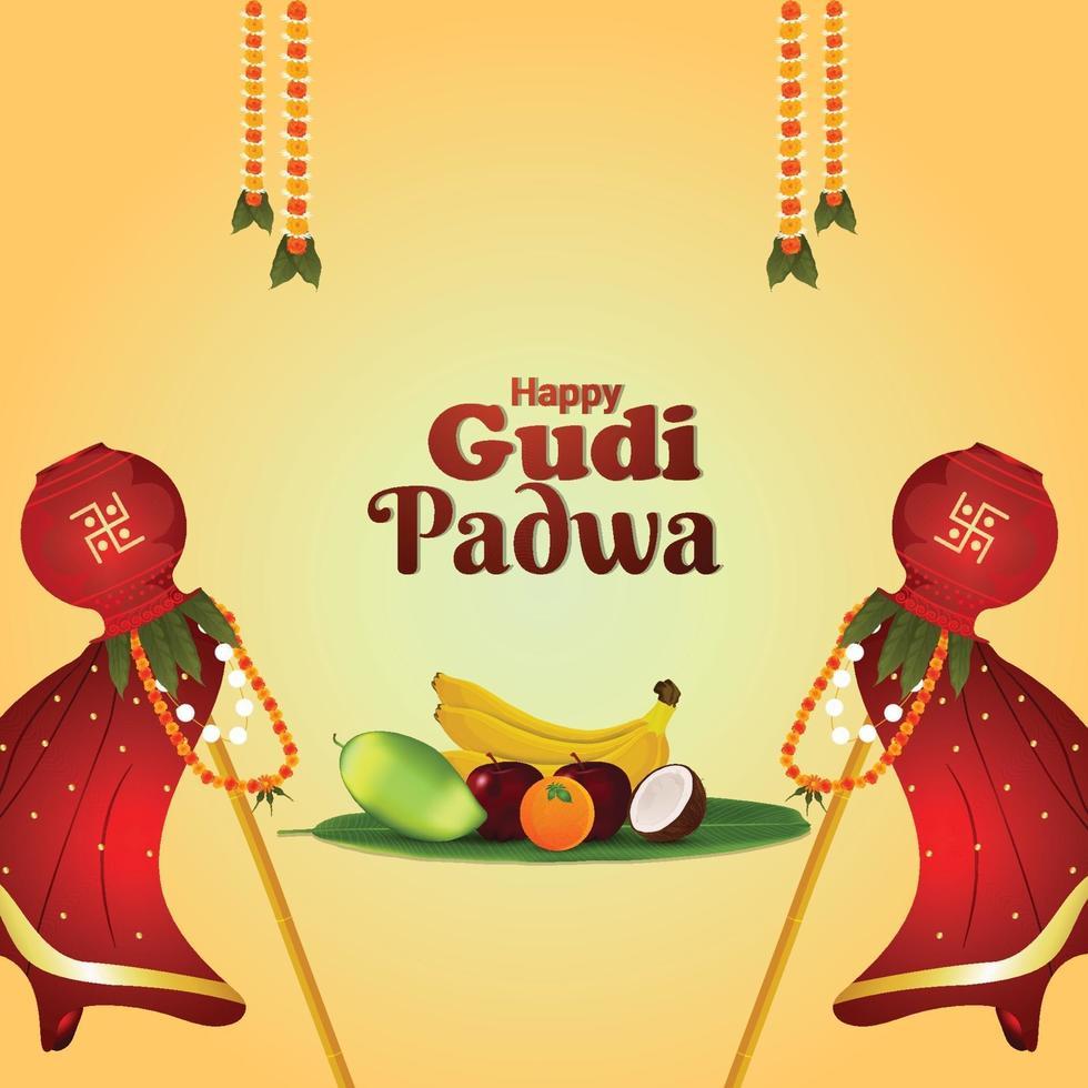 realistischer Gudi Padwa Feierhintergrund vektor