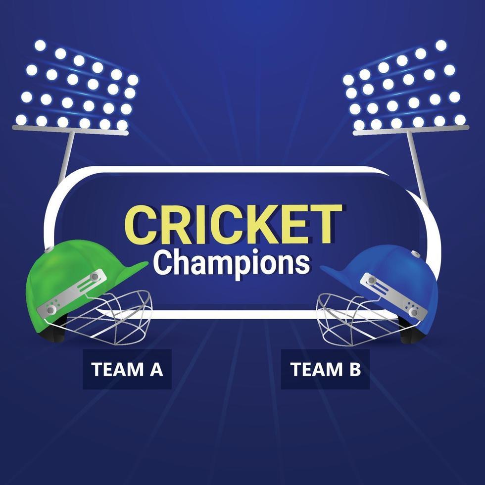 cricket turnering bakgrund med cricketer hjälm vektor