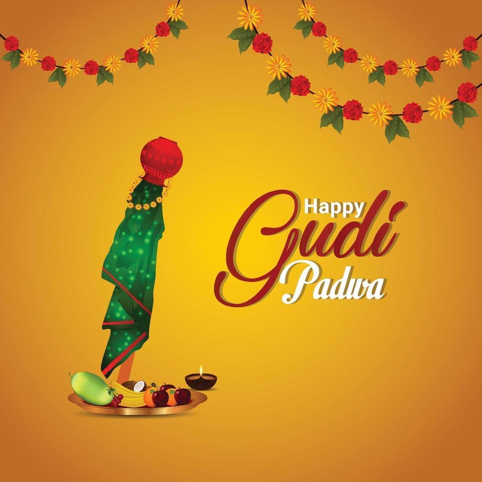 Gudi Padwa traditionelle Kalash mit kreativem Hintergrund vektor