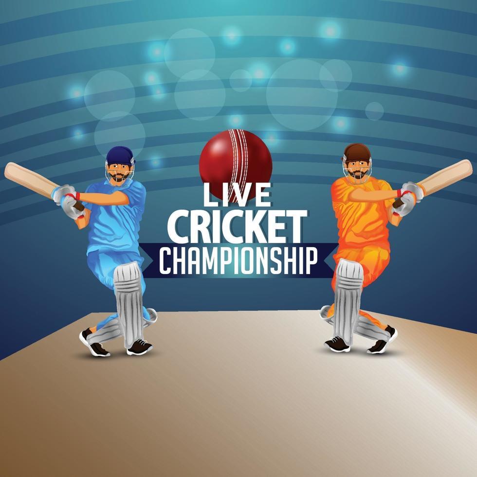 Illustration des Cricketspielers mit rotem Ball und Stadionhintergrund vektor